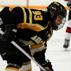 STOUFFVILLE, ON - Feb 6 : Ontario Junior Hockey League Game Action between the Stouffville Spirit Hockey Club and the Aurora Tigers Hockey Club.  Robert Angiolella #93 of the Aurora Tigers Hockey Club during second period game action.<br /> (Photo by Michael DiCarlo / OJHL Images)