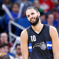 25 February 2017: Orlando Magic guard Evan Fournier (10) looks dejected during the Orlando Magic 105-86 victory over the Atlanta Hawks, at the Amway Center, Orlando, Florida, USA.