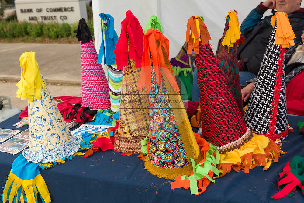 Capuchon hats on sale during the Tee-Mamou Mardi Gras heritage festival on Fat Tuesday February 17, 2015 in Iota, Louisiana.