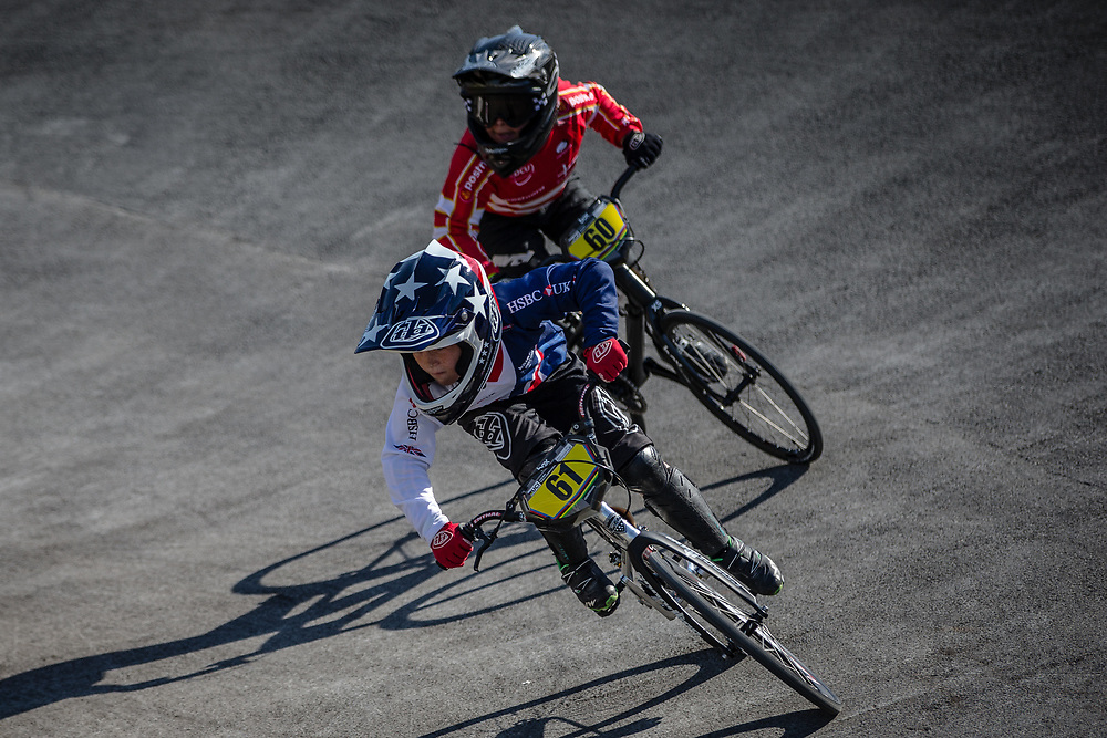 8 Boys #61 (CLITHEROE James) GBR at the 2018 UCI BMX World Championships in Baku, Azerbaijan.
