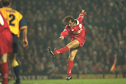 Liverpool, England - Wednesday, November 27th, 1996: Liverpool's Patrik Berger scores the fourth goal during the 4-2 victory over Arsenal during the 4th Round of the League Cup at Anfield. (Pic by David Rawcliffe/Propaganda)