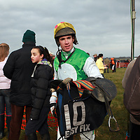Derek O' Connor returns to the weigh room after winning the 2nd on The Taxi Driver at the Clare Hunt point to point in Bellharbour on Sunday.<br /> Photograph by Yvonne Vaughan