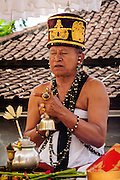 Balinese priest presiding a wedding ceremony, Bali, Indonesia