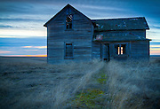 Washington, Eastern, Ritzville. An Abandoned homestead on the prairie near Ritzville in evening. . PLEASE CONTACT US FOR DIGITAL DOWNLOAD AND PRICING.