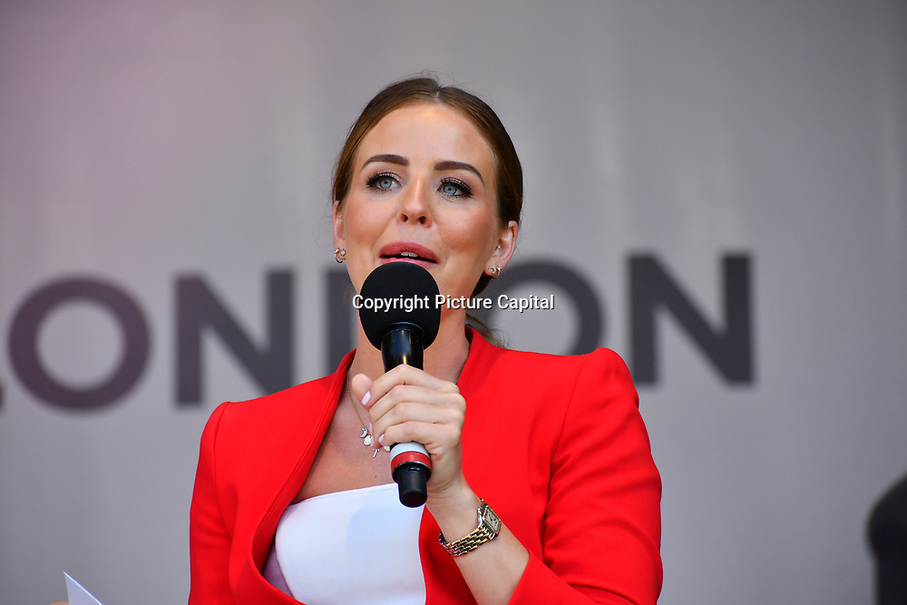 Lydia Bright presenter at the Feast of St George to celebrate English culture with music and English food stalls in Trafalgar Square on 20 April 2019, London, UK.