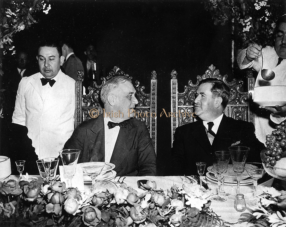 U.S. President Franklin D. Roosevelt (left) and Mexican President Manuel Ávila Camacho (right) during a state visit to Monterrey, Mexico 1943