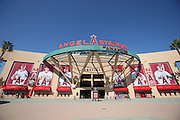 ANAHEIM, CA - APRIL 15:  General view of the stadium exterior facade before the Los Angeles Angels of Anaheim game against the Oakland Athletics at Angel Stadium on Tuesday, April 15, 2014 in Anaheim, California. The Athletics won the game 10-9 in eleven innings. (Photo by Paul Spinelli/MLB Photos via Getty Images)