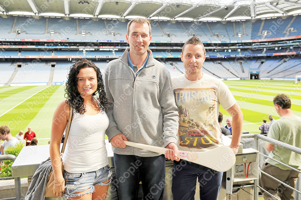 17 August 2013; Maureen Casey and Barry Shanahan, right, with Clare hurling legend Sean McMahon. Seán McMahon was the latest to feature on the Bord Gáis Energy Legends Tour Series 2013 when he gave a unique tour of the Croke Park stadium and facilities this week. Other greats of the game still to feature this summer on the Bord Gáis Energy Legends Tour Series include Steven McDonnell and Pat Gilroy. Full details and dates for the Bord Gáis Energy Legends Tour Series 2013 are available on www.crokepark.ie/events. Croke Park, Dublin. Picture credit: Pat Murphy / SPORTSFILE *** NO REPRODUCTION FEE ***
