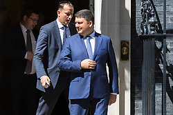 London, July 5th 2017. Ukrainian Prime Minister Volodymyr Groysman talks to the press outside 10 Downing Street following a meeting with British Prime Minister Theresa May in London.