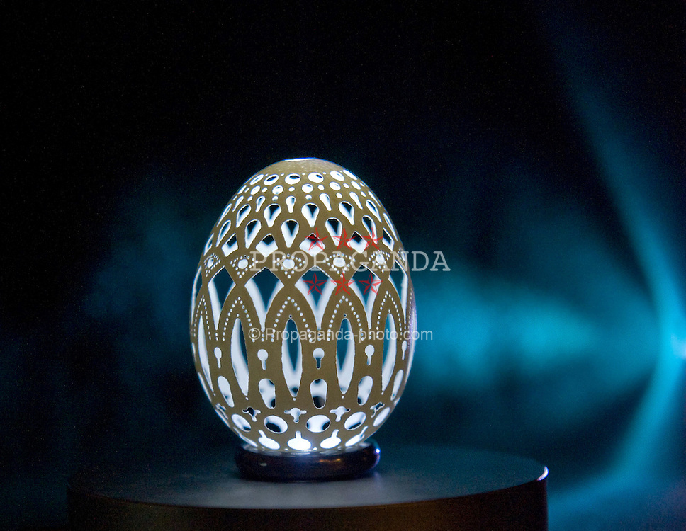 VRHNIKA, SLOVENIA - Friday, April 10, 2009: Easter Egg works of art created by Slovenian Franc Grom. He drills the eggs with a thousands holes and then turns them into little works of art. (Pic by Expa/NPH/Propaganda)