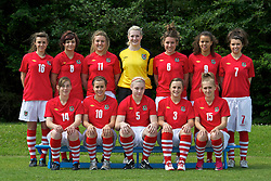 Wales Women's squad. Back row L-R: Georgia Evans, Zoe Simmonds, Amy Wathan, Alice Evans, Danielle Oates, Shanelle Edwards, Demi Edwards. Front row L-R: Alex George, Chloe O'Connor, Lauren Price, Lucy Thomas, Hannah Williams