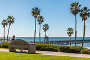 Woman Sitting on Bench Above the San Clemente Pier