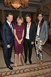 Left to right, MATTHEW BARZUN, ANNA WINTOUR, CHRISTOPHER BAILEY Chief Creative and chief executive officer of Burberry  and JENNA LYONS J. Crew creative director at a party hosed by the US Ambassador to the UK Matthew Barzun, his wife Brooke Barzun and editor of UK Vogue Alexandra Shulman in association with J Crew to celebrate London Fashion Week held at Winfield House, Regent's Park, London on 16th September 2014.