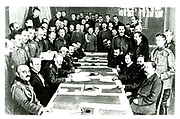 Negotiating the Treaty of Brest-Litovsk.  Finally signed on 3 March 1918, it marked Russia's exit from World War I.