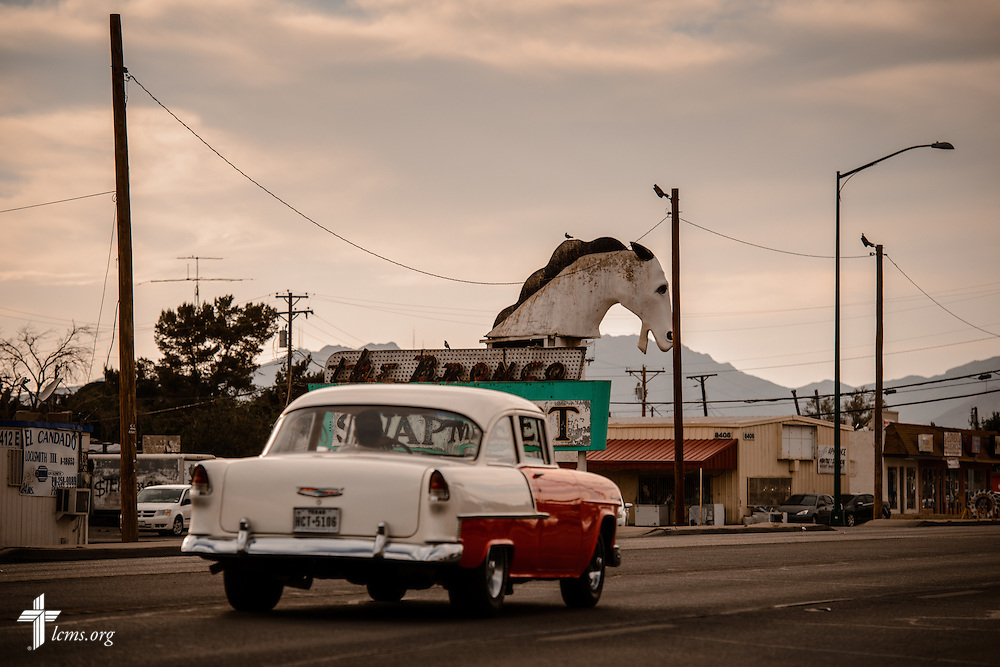 A vintage automobile drives down a roadway on Saturday, May 21, 2016, in El Paso, Texas. LCMS Communications/Erik M. Lunsford