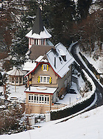 A gothic style villa in the valley below Lenzburg Castle, Aargau, Switzerland.