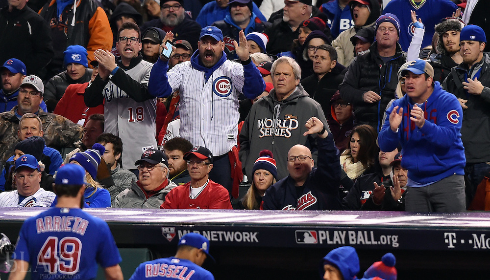 Oct 26, 2016; Cleveland, OH, USA; Chicago Cubs fans cheer after starting pitcher Jake Arrieta (49) retires the Cleveland Indians in the third inning in game two of the 2016 World Series at Progressive Field. Mandatory Credit: Ken Blaze-USA TODAY Sports
