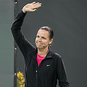March 7, 2015, Indian Wells, California:<br /> Lindsay Davenport is introduced during the McEnroe Challenge for Charity presented by Masimo in Stadium 2 at the Indian Wells Tennis Garden in Indian Wells, California Saturday, March 7, 2015.<br /> (Photo by Billie Weiss/BNP Paribas Open)
