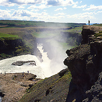 Gullfoss Hvítá séð til suðurs, Bláskógabyggð áður   Biskupstungnahreppur /  Gullfoss waterfall and river Hvita viewing south, Blaskogabyggd former Biskupstungnahreppur