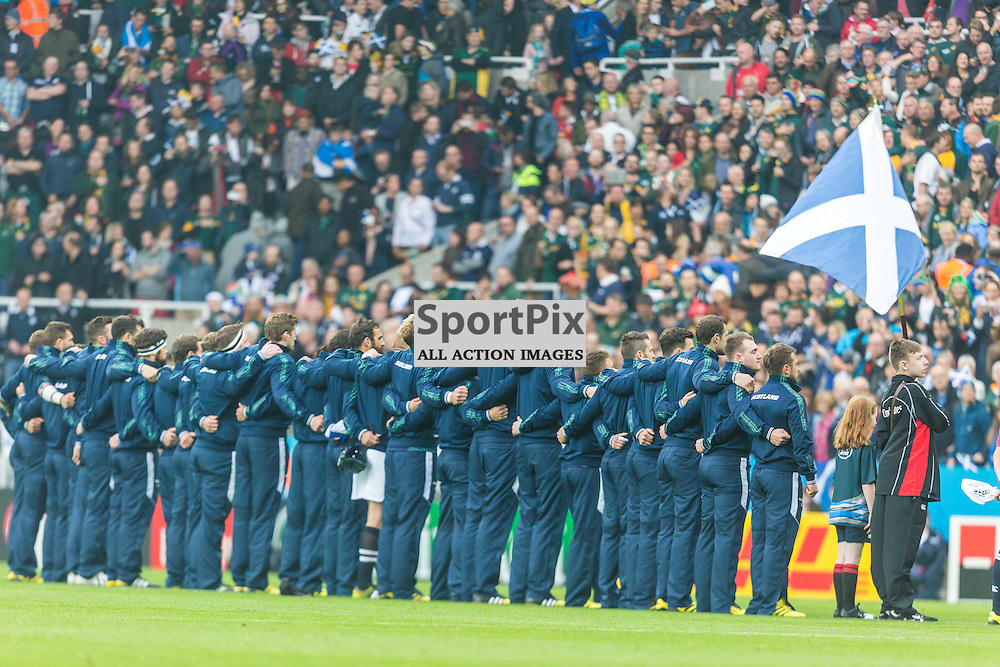 Scotland team during the anthems before the Rugby World Cup match between Scotland and South Africa (c) ROSS EAGLESHAM | Sportpix.co.uk