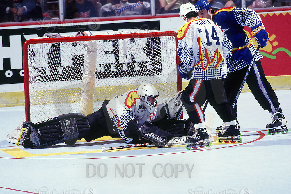 1996:  RHI Allstar goalie Joe Bonvie in action during a Roller Hockey International RHI indoor inline hockey game.  Original image scan from negative, print or transparencey.  Image is available for personal or editorial use only.