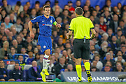 Chelsea defender César Azpilicueta (28) limps after a collision during the Champions League match between Chelsea and Valencia CF at Stamford Bridge, London, England on 17 September 2019.