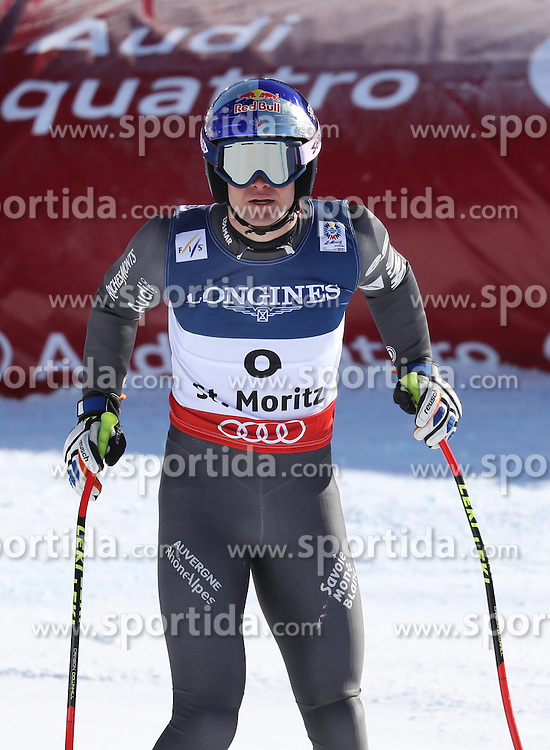 13.02.2017, St. Moritz, SUI, FIS Weltmeisterschaften Ski Alpin, St. Moritz 2017, alpine Kombination, Herren, Abfahrt, im Bild Alexis Pinturault (FRA) // Alexis Pinturault of France reacts after his run of downhill for the men's Alpine combination of the FIS Ski World Championships 2017. St. Moritz, Switzerland on 2017/02/13. EXPA Pictures &copy; 2017, PhotoCredit: EXPA/ Sammy Minkoff<br /> <br /> *****ATTENTION - OUT of GER*****