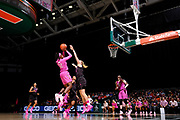 February 11, 2018: Imani Wright #32 of Florida State shoots over Sarah Mortensen #12 of Miami during the NCAA basketball game between the Miami Hurricanes and the Florida State Seminoles in Coral Gables, Florida. The Seminoles defeated the 'Canes 91-71.