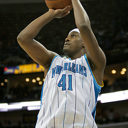 Oct 10, 2009; New Orleans, LA, USA;  New Orleans Hornets forward James Posey (41) shoots during a preseason game against the Oklahoma City Thunder at the New Orleans Arena. The Hornets defeated the Thunder 88-79. Mandatory Credit: Derick E. Hingle-US PRESSWIRE