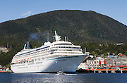 Cruise ship Crystal Harmony at dock in Ketchikan, Alaska on the Inside Passage.