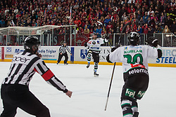 During ice hockey match between HDD SIJ Acroni Jesenice and HDD Telemach Olimpija in 4th leg of Finals of Slovenian National Championship 2014/2015, on April 15, 2015 in Podmezakla, Jesenice, Slovenia. Photo by Grega Valancic / Sportida