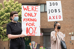 © Licensed to London News Pictures. 24/07/2020. London, UK.  Protesters demonstrate against job cuts and pay outside the Tate Modern art museum. The Tate Modern will re-open to the public after closing due to the Coronavirus outbreak. Photo credit: Ray Tang/LNP