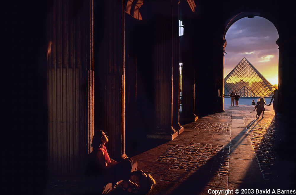 Louvre Pyramid, sunset, Paris, France