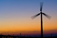 Clean Energy Power generating windmill at wind farm at sunrise, Palm Springs, Riverside County, California