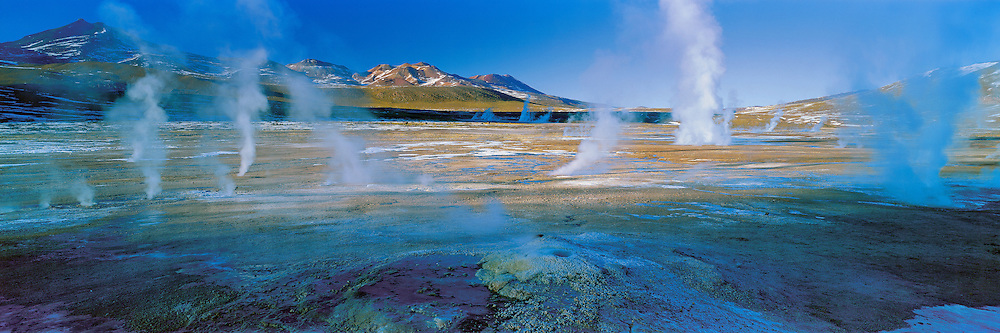 Panoramic from the Titio Geysers , Altiplano , Chile