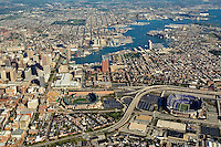Aerial views of Baltimore Inner Harbor, Maryland