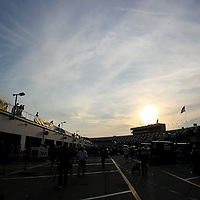 A general overview the garage area after the Gatorade Duels were completed at Daytona International Speedway on Thursday, February 21, 2013 in Daytona Beach, Florida.  (AP Photo/Alex Menendez)