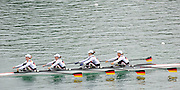 Munich, GERMANY,   GER1 W4X, bow. Britta OPPLET, Carina BEAR, Tina MANKER, Stephanie SCHILLER. 2010 FISA World Cup. Munich Olympic Rowing Course, Sunday  20/06/2010   [Mandatory Credit Peter Spurrier/ Intersport Images]