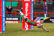 Keighley Cougars winger Andy Gabriel (2) scores a try during the Betfred League 1 match between Keighley Cougars and Workington Town at Cougar Park, Keighley, United Kingdom on 18 February 2018. Picture by Simon Davies.