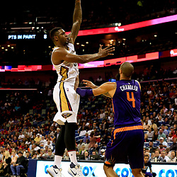 Nov 4, 2016; New Orleans, LA, USA; New Orleans Pelicans forward Terrence Jones (9) shoots over Phoenix Suns center Tyson Chandler (4) during the first quarter of a game at the Smoothie King Center. Mandatory Credit: Derick E. Hingle-USA TODAY Sports