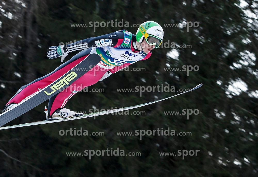 12.01.2014, Kulm, Bad Mitterndorf, AUT, FIS Ski Flug Weltcup, Erster Durchgang, im Bild Jaka Hvala (SLO) // Jaka Hvala (SLO) during the first round of FIS Ski Flying World Cup at the Kulm, Bad Mitterndorf, .Austria on 2014/01/12, EXPA Pictures © 2013, PhotoCredit: EXPA/ Erwin Scheriau