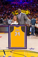02 April 2013: Shaquille O'Neal poses with Jeanie Buss  with his framed jersey during the jersey retirement ceremony for retired Los Angeles Lakers center (34) Shaquille O'Neal during halftime of  the Lakers 101-81 victory over the Dallas Mavericks at the STAPLES Center in Los Angeles, CA.