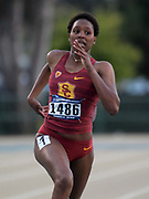 May24, 2018; Sacramento, CA, USA; Kyra Constantine of Southern California places second in women's 400m heat in 53.08 to advance during the NCAA West Preliminary at Hornet Stadium.