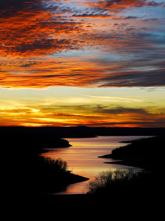 Winter sunset over Norfork Lake, Baxter County, Arkansas.