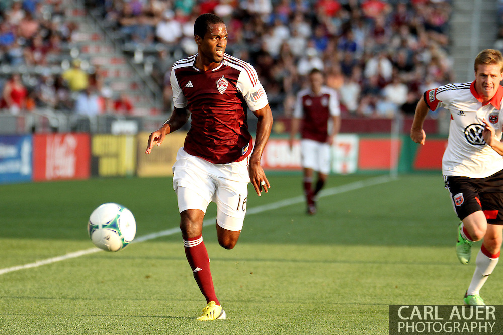 July 7th, 2013 - Colorado Rapids midfielder Atiba Harris (16) looks for a pass after out running D.C. United defender Taylor Kemp (33) to the ball in first half action of the Major League Soccer match between D.C. United and the Colorado Rapids at Dick's Sporting Goods Park in Commerce City, CO