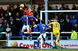 Joe Lumley of Bristol Rovers punches the ball clear above Ian Henderson of Rochdale - Mandatory by-line: Matt McNulty/JMP - 04/02/2017 - FOOTBALL - Crown Oil Arena - Rochdale, England - Rochdale v Bristol Rovers - Sky Bet League One