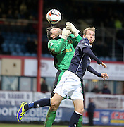 Dundee's Martin Boyle's head flick deceives Dumbarton keeper Jamie Ewings but was cleared  - Dundee v Dumbarton, SPFL Championship at Dens Park<br /> <br />  - &copy; David Young - www.davidyoungphoto.co.uk - email: davidyoungphoto@gmail.com