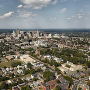 Aerial view of Hartford from south including Hartford Hospital and the Institute of Living