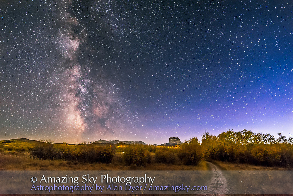 The summer and autumn Milky Way over Chief Mountain at Police Outpost Provincial Park, in southern Alberta, on September 26, 2016. Mars is just below M8 the Lagoon Nebula here. <br />