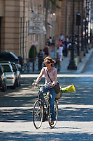 cyclist on rue royale Paris France in May 2008